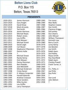 Belton Lions Presidents